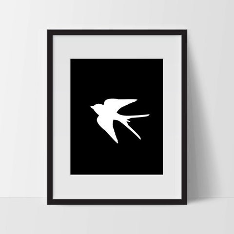 Sparrow, Wall Art, Black and White Modern Art - Ink Print Art