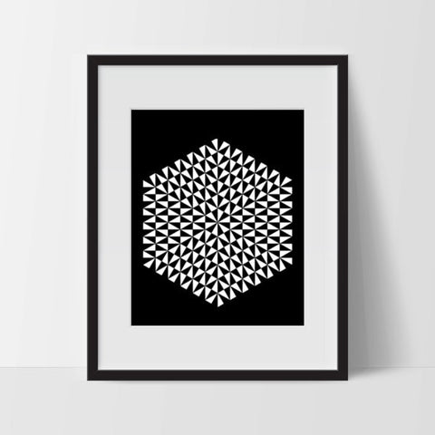 Geometric Hexagon Printable Art 11 x 14 Inches - Ink Print Art