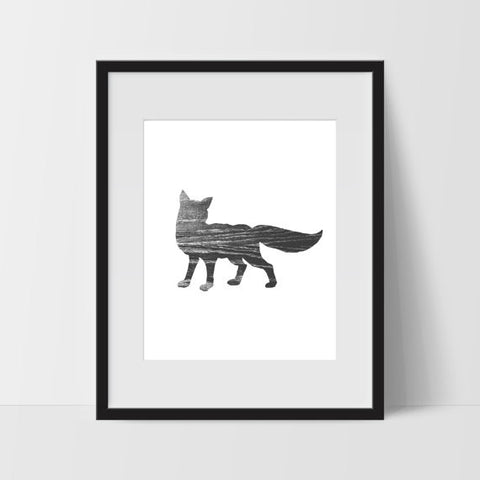 Rustic Fox Art Print, Modern Wall Art - Ink Print Art