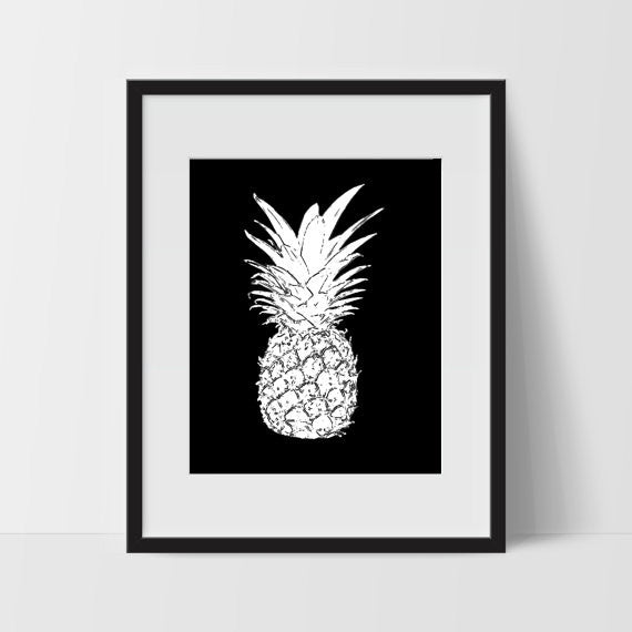 Pineapple Printable Art, 11 x 14 Inches - Ink Print Art