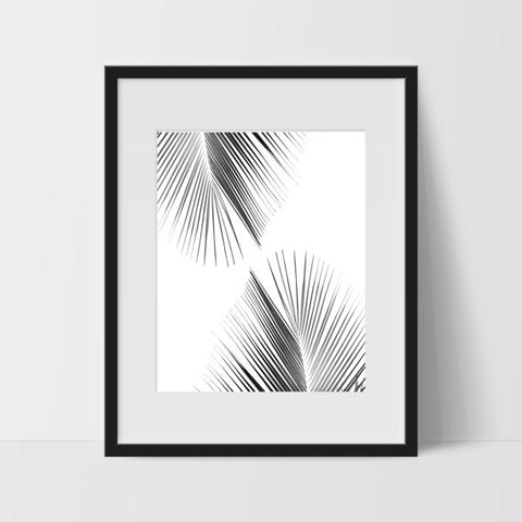 Palm Tree Wall Art #2, Tropical Monochromatic Art, Minimalist Prints, For The Home - Ink Print Art  - 2