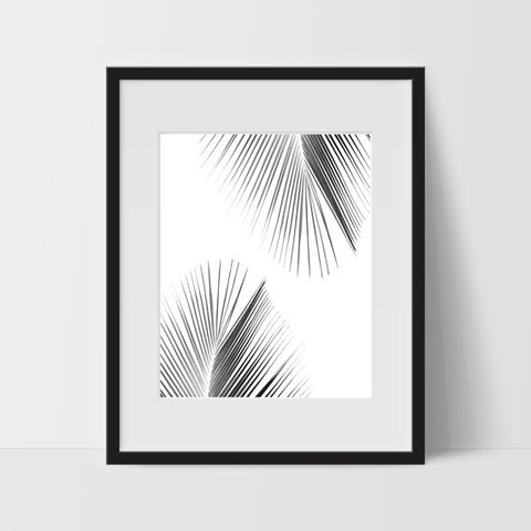 Wall Print Art, Tropical Art, Tropical Decor, Digital Art Print, Big Leaf Print, 11x14, Tree, Hawaiian, Exotic Prints, Black and White - Ink Print Art  - 1