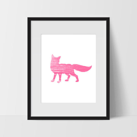 Pink Wild Fox Minimalist Art, Dorm Room Art, For The Home, Nursery Art - Ink Print Art