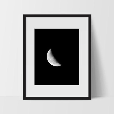 Moon Phase #2 Wall Art, Black and White Modern Art, Prints - Ink Print Art  - 1