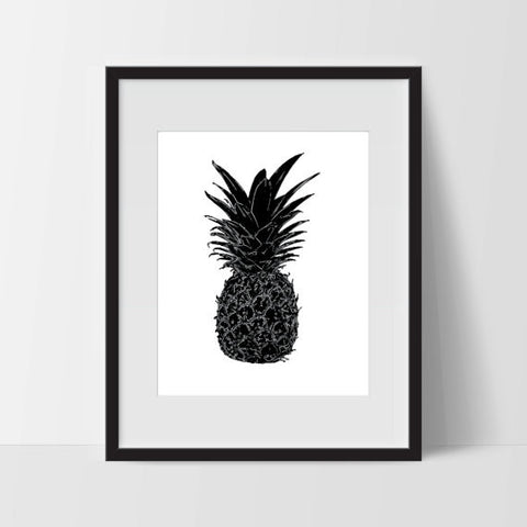 Pineapple Modern Art Printable, 11 x 14, Downloadable File Only - Ink Print Art