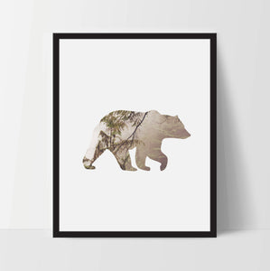 Bear Silhouette Wild Life, Wall Art, Artwork, Home Decor, Modern Print, Print Art, Abstract Art, Black White, Decorations, Digital Print
