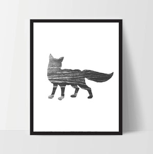 Fox, Wall Art, Artwork, Home Decor, Modern Print, Print Art, Instant Download, Black Grey, Nursery, Baby, Digital Print