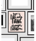 Printable, Hope is Stronger Than Fear, Art Print, Quote, Inspirational Print Decor, Digital Art Print, Office Print, 12x16