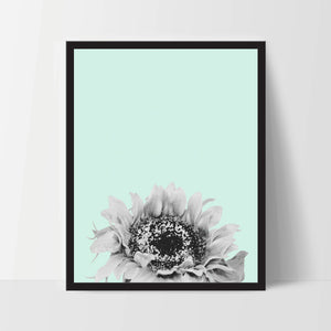 Printable, Mint Green Sunflower, Wall Art, Artwork, Home Decor, Modern Print, Print Art, Nature Art, Living Room, Digital Print, 12x16