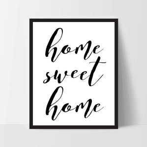Printable, Home Sweet Home, Art Print, Quote, Inspirational Print Decor, Digital Art Print, Office Print, 12x16, Black