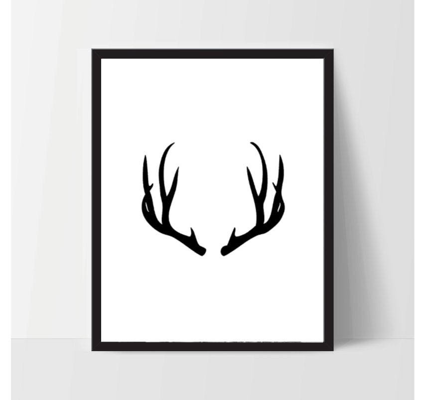 Antler in Black, Printable, Wall Art, Artwork, Home Decor, Modern Print, Print Art, Abstract Art, Color, Decorations, Digital Print
