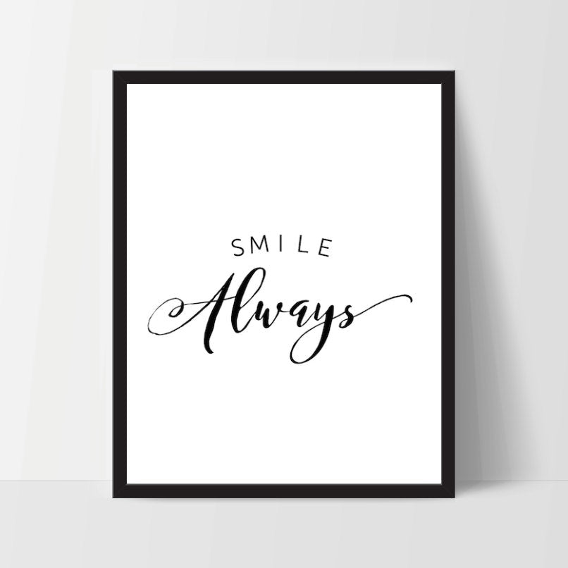 Instant Download, Smile Always, Art Print, Quote, Inspirational Print Decor, Digital Art Print, Office Print, 12x16, Black
