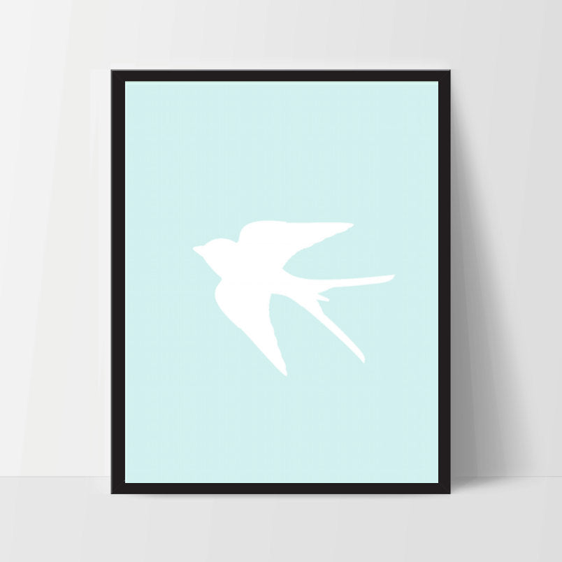 Sparrow Bird, Light Blue, Printable, Wall Art, Artwork, Home Decor, Modern Print, Print Art, Nature Art, Color, Decorations, Digital Print