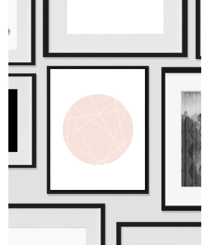 Printable Wall Art, Pink Minimalist Circle, Print Decor, Digital Art Print, Office Print, 11x14, Geometric, Shape, Modern