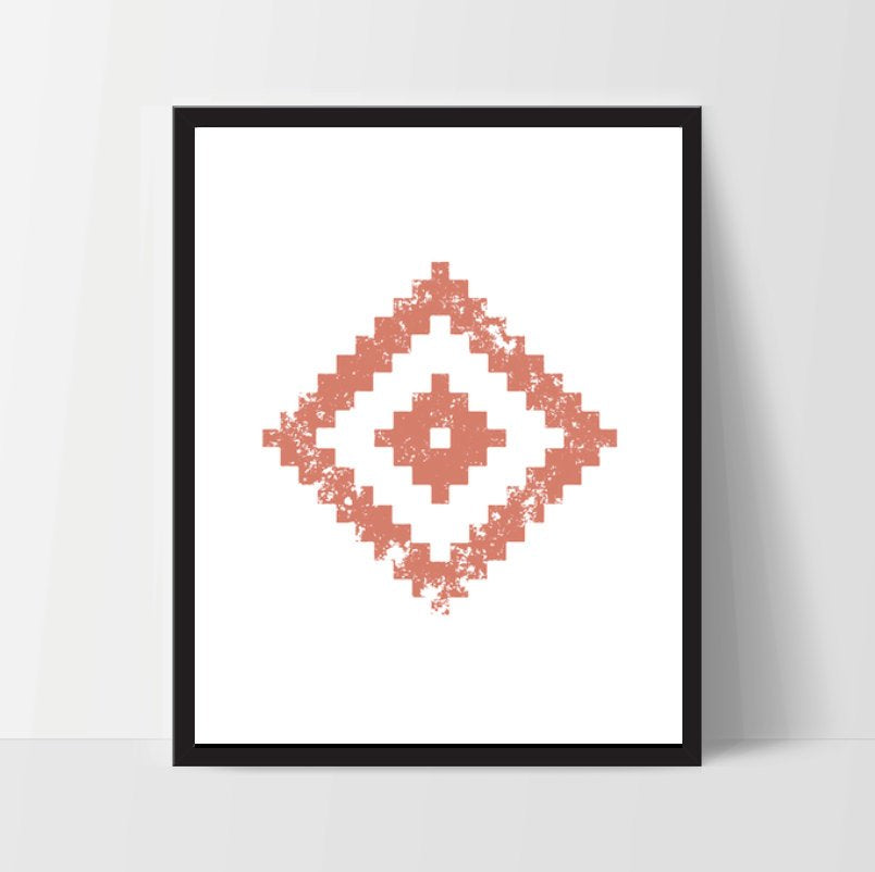 Geometric Wall Art, Coral Pink, Artwork, Home Decor, Modern Contemporary, Print Art, Instant Download, Boho, Nursery, Baby, Digital