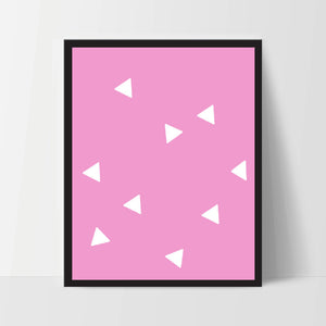 Triangle Wall Print, Pink White, Artwork, Home Decor, Modern Contemporary, Print Art, Instant Download, Boho, Nursery, Baby, Digital