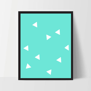 Triangle Wall Print, Aqua White, Artwork, Home Decor, Modern Contemporary, Print Art, Instant Download, Boho, Nursery, Baby, Digital
