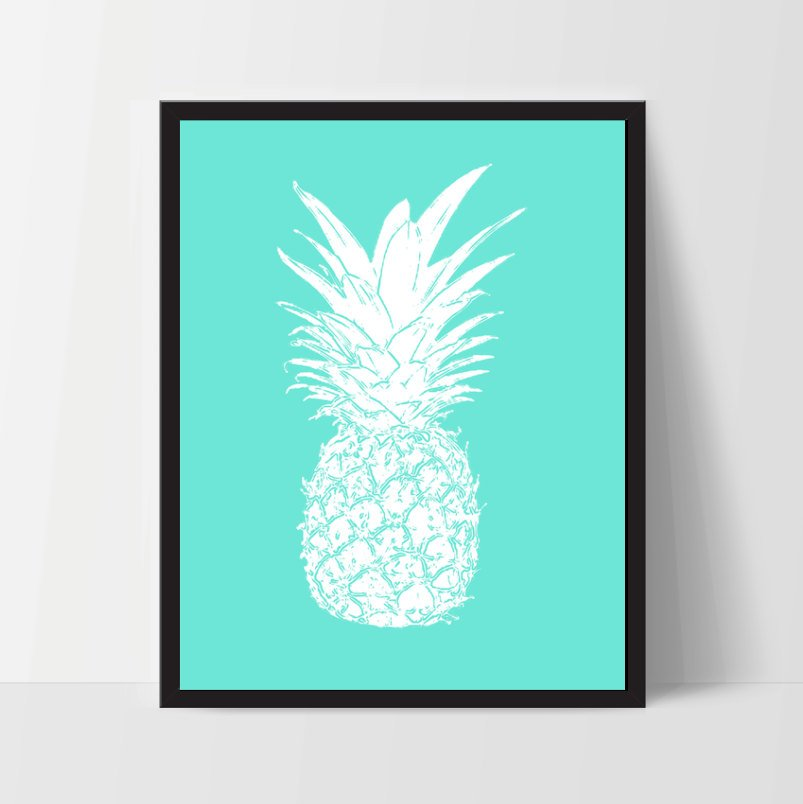 Light Blue Pineapple, Wall Art, Artwork, Home Decor, Modern Print, Print Art, Abstract Art, Wall Decor, Decorations, Digital Print