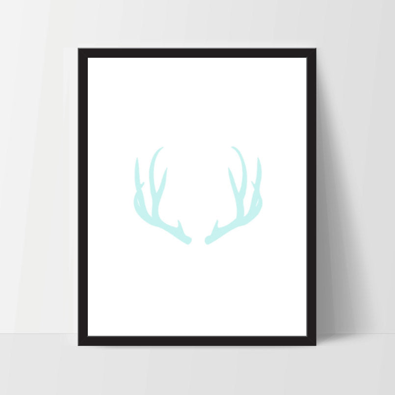 Antler in Baby Blue, Printable, Wall Art, Artwork, Home Decor, Modern Print, Print Art, Abstract Art, Color, Decorations, Digital Print