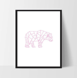 Pink Geometric Bear, Wall Art, Wall Print, Boho Art, Wall Prints, Bear Prints, Art, Walking Bear