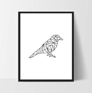 Black Geometric Bird, Printable Wall Art, Wall Print, Boho Art, Wall Prints, Bird Prints, Printable Art, Printable, Sitting Bird, Bird Art
