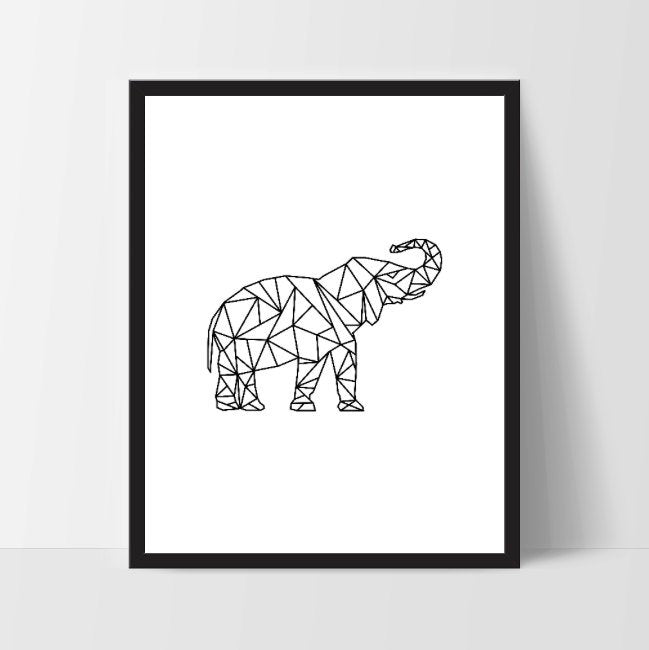 Black Geometric Elephant, Printable Wall Art, Thai Wall Print, Boho Art, Wall Prints, Bird Prints, Printable Art, Printable, Elephant, Art