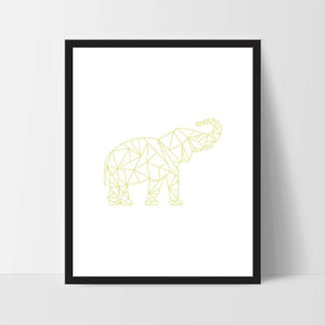 Yellow Geometric Elephant, Printable Wall Art, Thai Wall Print, Boho Art, Wall Prints, Elephant Prints, Printable Art, Printable, Elephant
