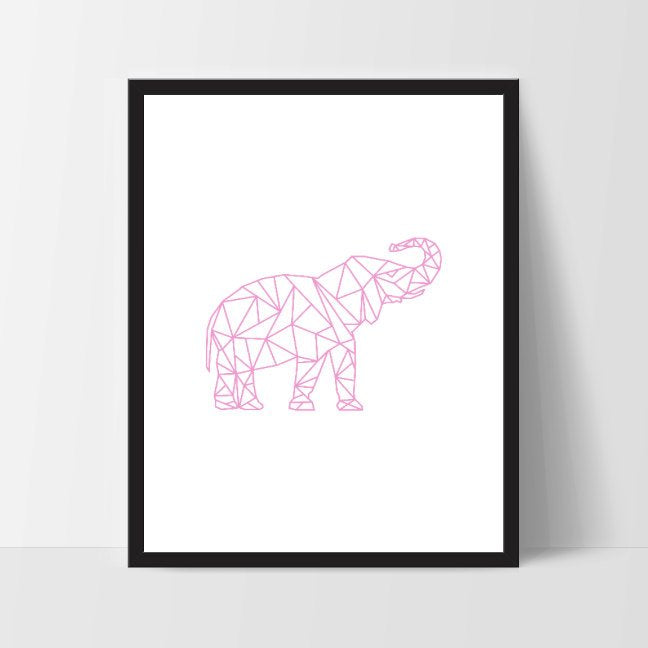 Pink Geometric Elephant, Printable Wall Art, Thai Wall Print, Boho Art, Wall Prints, Elephant Prints, Printable Art, Printable, Elephant