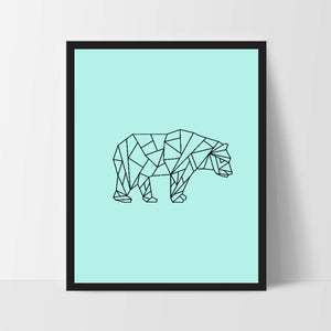 Teal Geometric Bear, Printable Wall Art, Bear Wall Print, Boho Art, Wall Prints, Bear Prints, Printable Art, Printable, Walking Bear