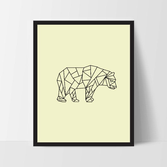 Yellow Geometric Bear, Printable Wall Art, Bear Wall Print, Boho Art, Wall Prints, Bear Prints, Printable Art, Printable, Walking Bear