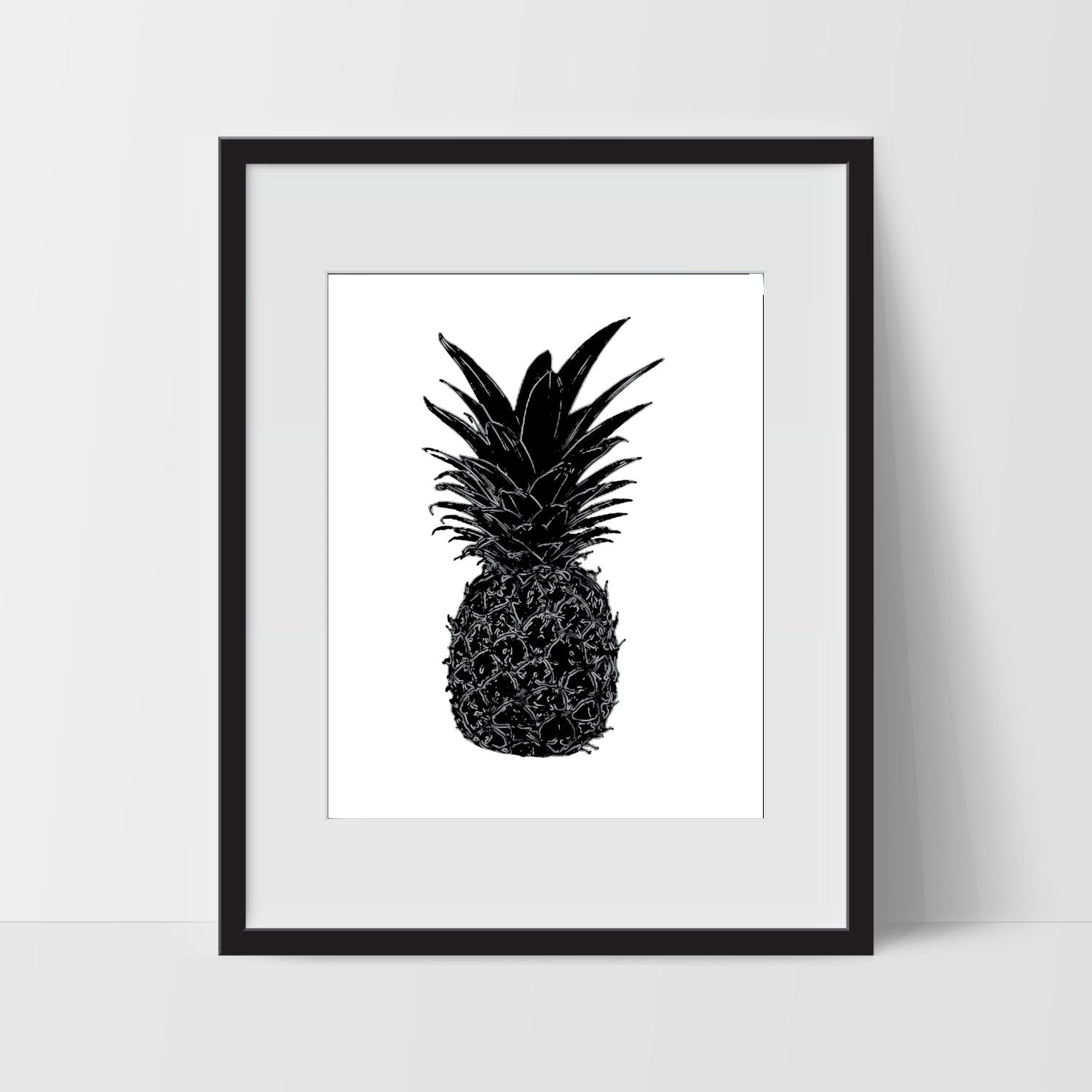 Pineapple Printable, Wall Art, Artwork, Home Decor, Modern Print, Print Art, Abstract Art, Black White, Decorations, Digital Print
