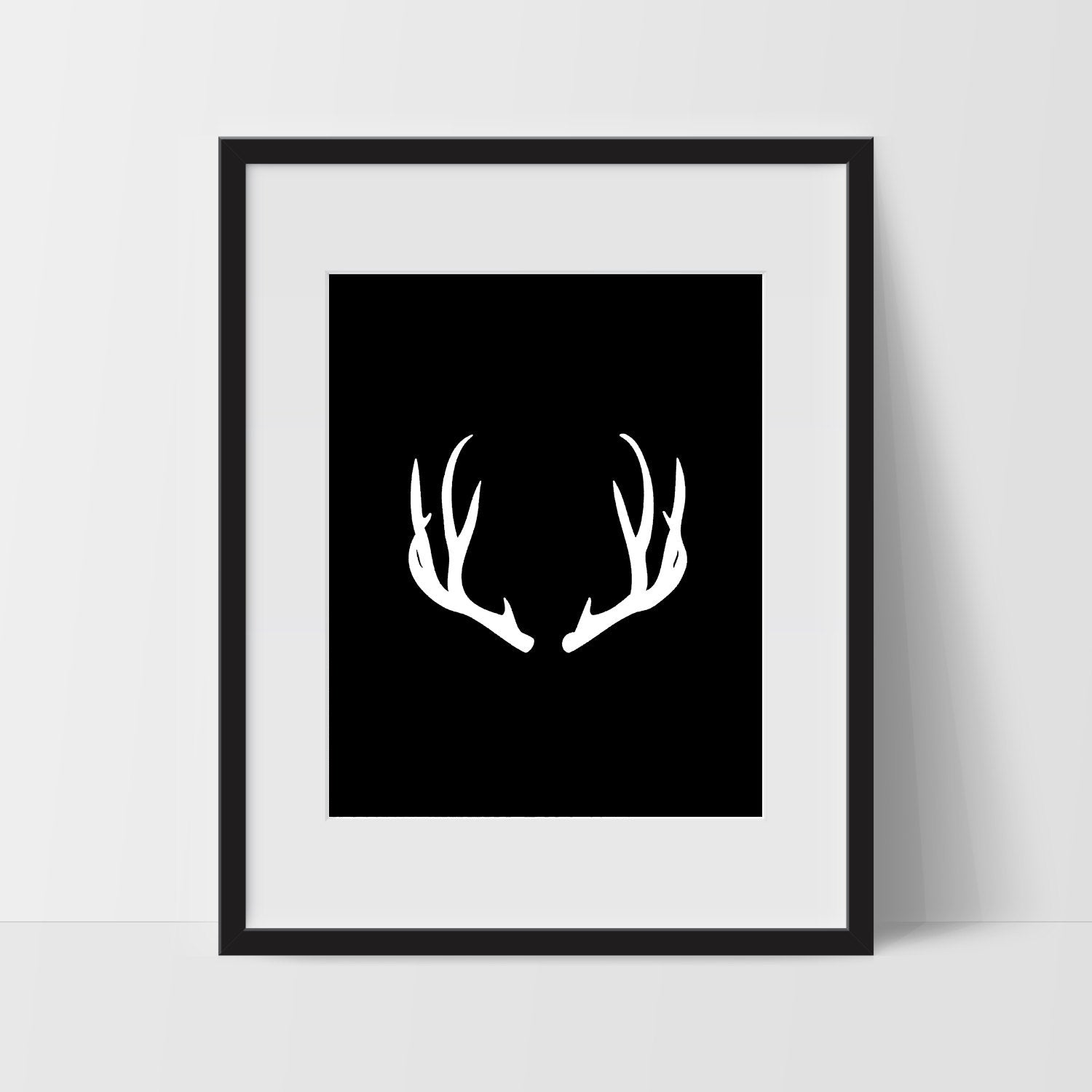 Wall Print Art, Antler Art, Boho Print Decor, Digital Art Print, Antler Print, 8x10, Black, White, Minimalist Prints, Black and White