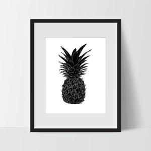 Pineapple, Wall Art, Artwork, Home Decor, Modern Print, Print Art, Abstract Art, Black White, Decorations, Digital Print