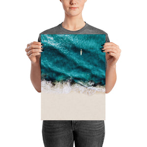 Surfer Top View Beach Poster