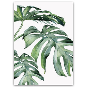 Watercolor Plant Green Canvas Poster