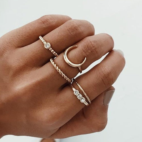 5 Midi Rings Women Bohemian Moon Charms Rings