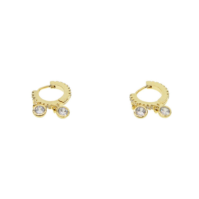 Two Bezel Mini Hoop Earrings