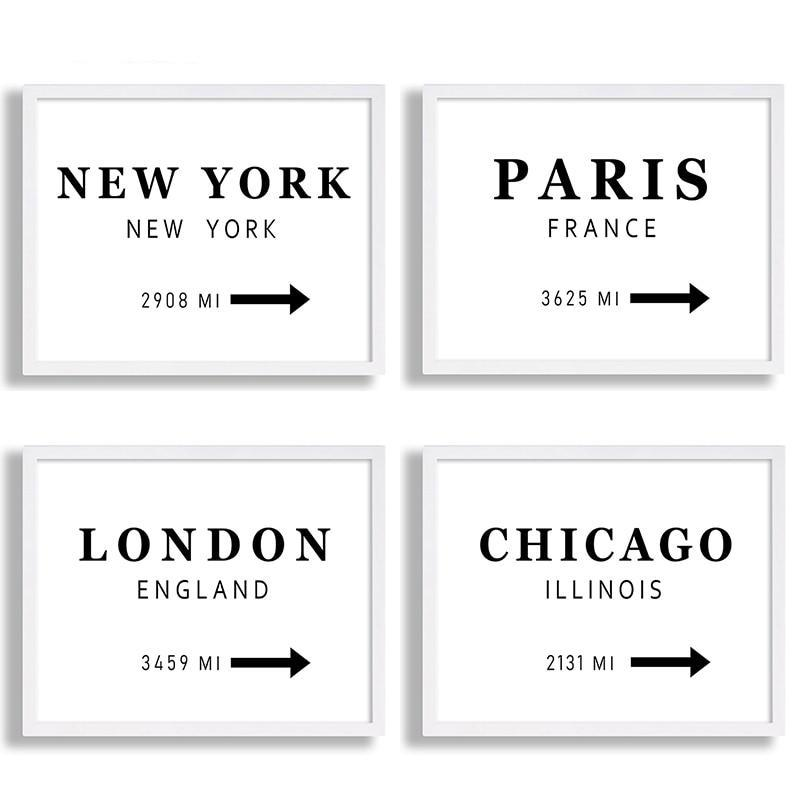 New York London Paris City Canvas Poster