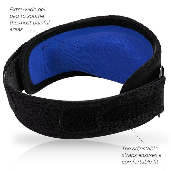 tennis elbow brace with Extra-wide gel pad to soothe the most painful areas adjustable straps ensures a comfortable fit