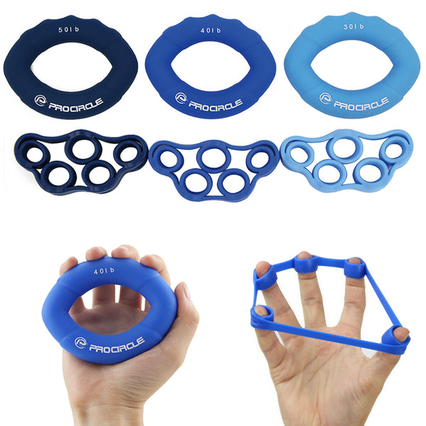 Pack of 6 Silicone Hand Grips & Rings for Wrist and Finger Training