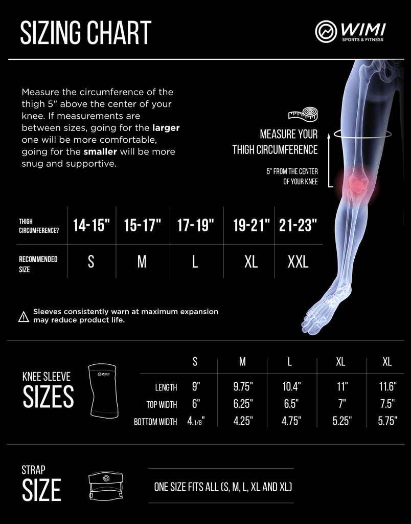 runner's knee brace sizing chart