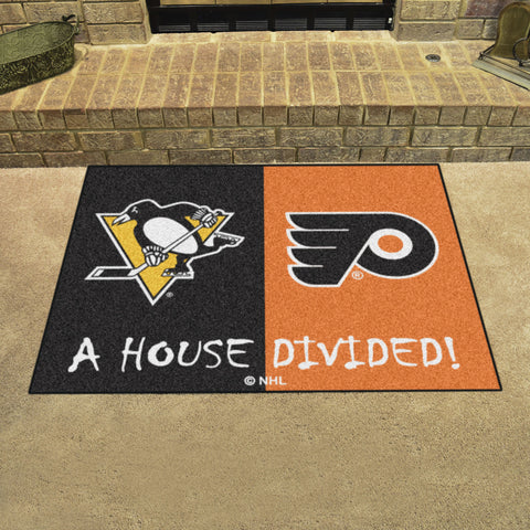NHL Rivalry Rug Pittsburgh Penguins / Philadelphia Flyers House Divided Mat - Bed, Bath, And My Team