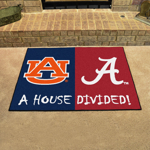 NCAA Rivalry Rug Alabama Crimson Tide / Auburn Tigers House Divided Mat - Bed, Bath, And My Team