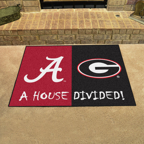 NCAA Rivalry Rug Alabama Crimson Tide / Georgia Bulldogs House Divided Mat - Bed, Bath, And My Team