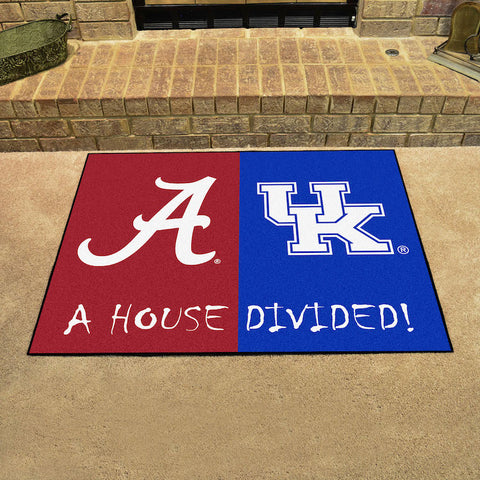 NCAA Rivalry Rug Alabama Crimson Tide / Kentucky Wildcats House Divided Mat - Bed, Bath, And My Team