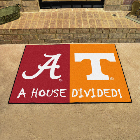 NCAA Rivalry Rug Alabama Crimson Tide / Tennessee Volunteers House Divided Mat - Bed, Bath, And My Team