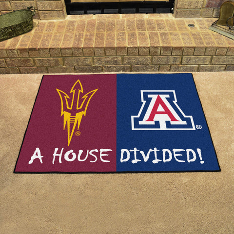 NCAA Rivalry Rug Arizona State Sun Devils / Arizona Wildcats House Divided Mat - Bed, Bath, And My Team