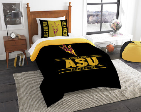 NCAA Arizona State Sun Devils Twin Comforter and Pillow Sham - Bed, Bath, And My Team