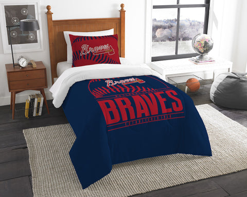 MLB Atlanta Braves Twin Comforter and Pillow Sham - Bed, Bath, And My Team