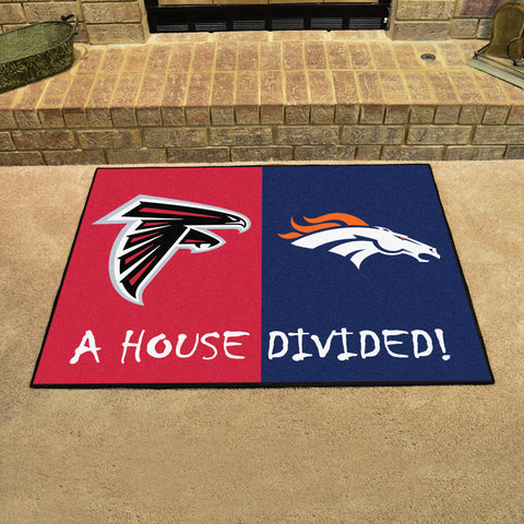 NFL Rivalry Rug Atlanta Falcons / Denver Broncos House Divided Mat - Bed, Bath, And My Team
